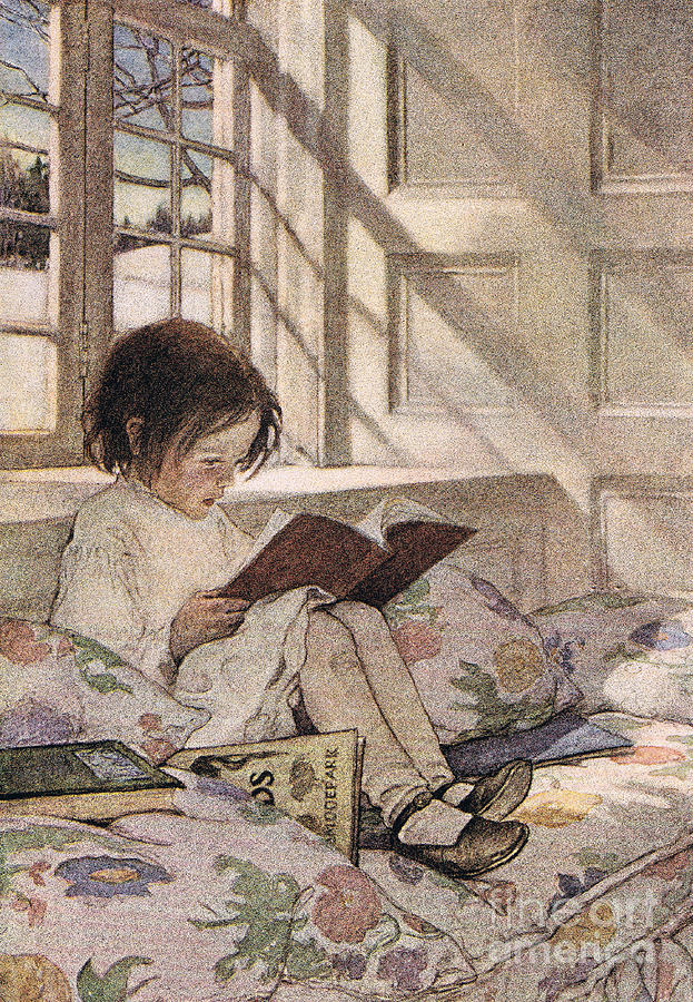 Girl Drawing - A girl reading by Jessie Willcox Smith