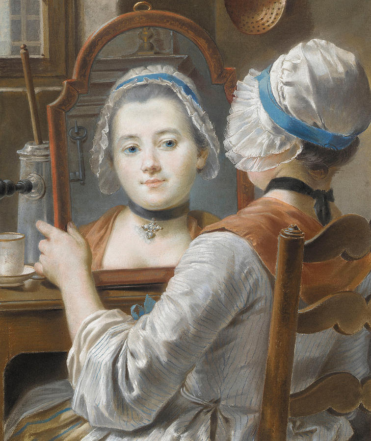 A Girl Wearing A Bonnet Painting By French School