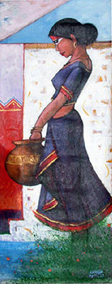 A Girl With Pot Painting by Ganesh Patil