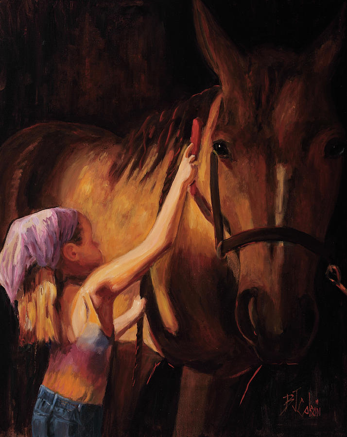 Horse Painting - A Girls First Love by Billie Colson