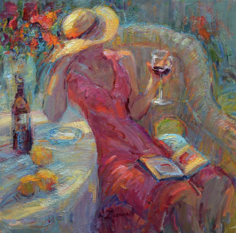 A Glass Of Red Painting By Diane Leonard
