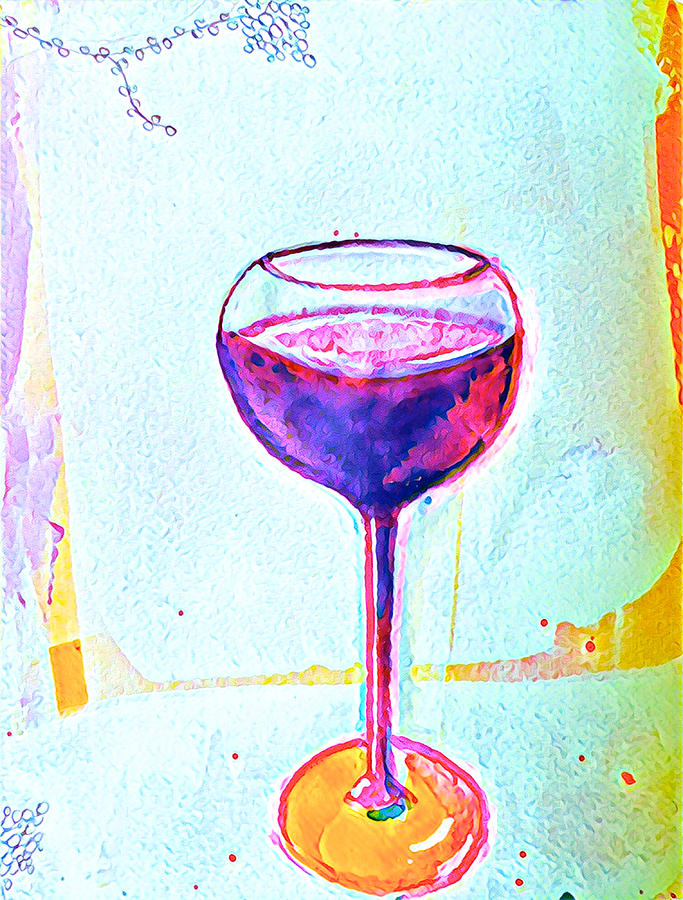 Wine Mixed Media - A Glass Of Vino 1 by Vanessa Katz