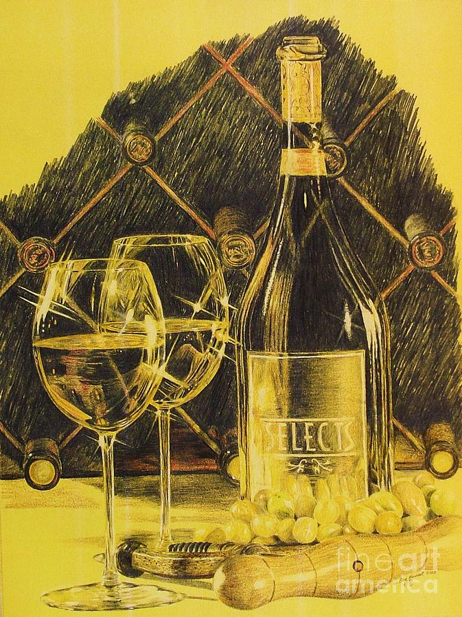 Wine Drawing - A Glass Or Two by Dan Hausel