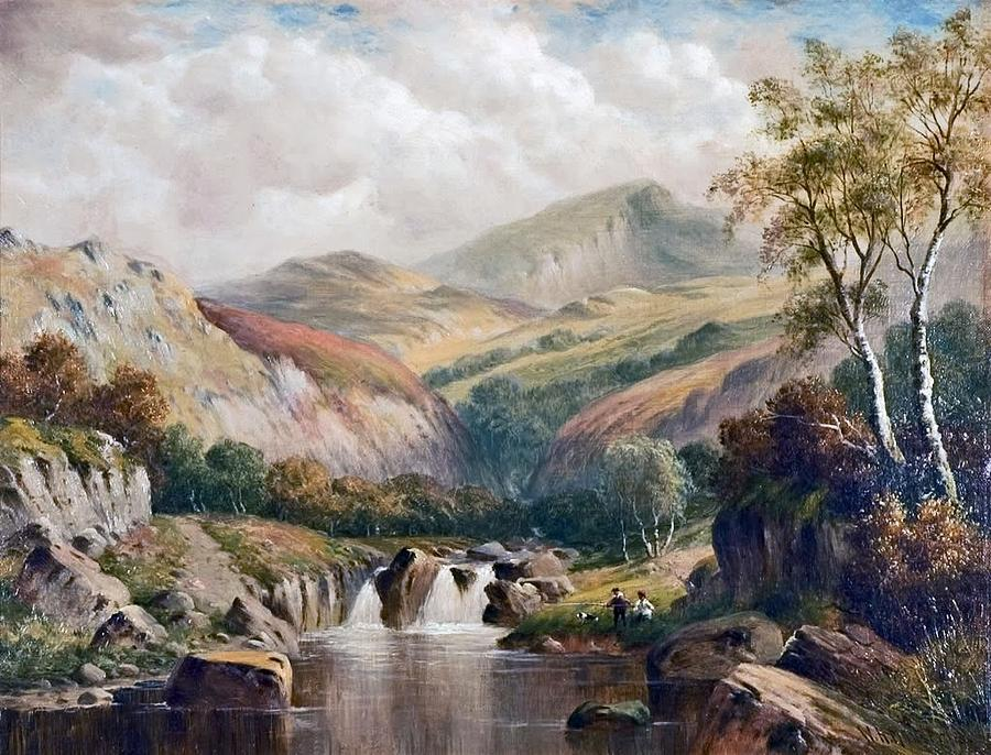 North Wales Painting - A Glen near Moel Siabod by MotionAge Designs