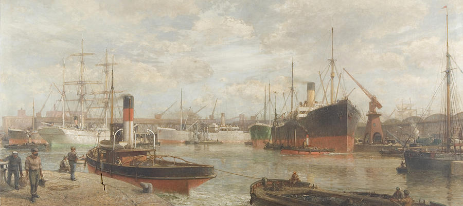 Harbor Painting - A Glimpse In 1920 Of The Royal Edward Dock, Avonmouth by Arthur Wilde Parsons