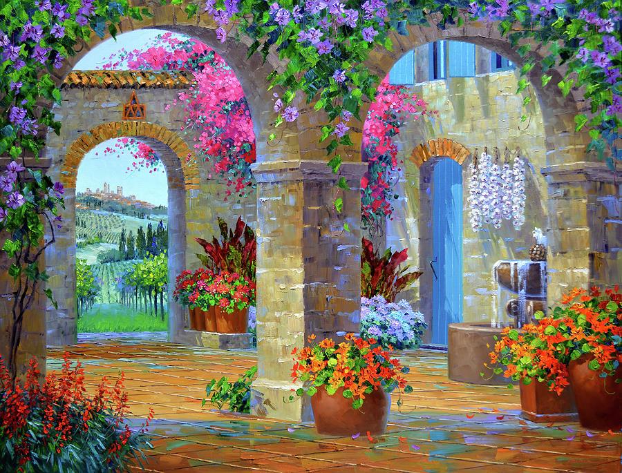 San Gimignano Painting - A Glimpse Of Tuscany by Mikki Senkarik