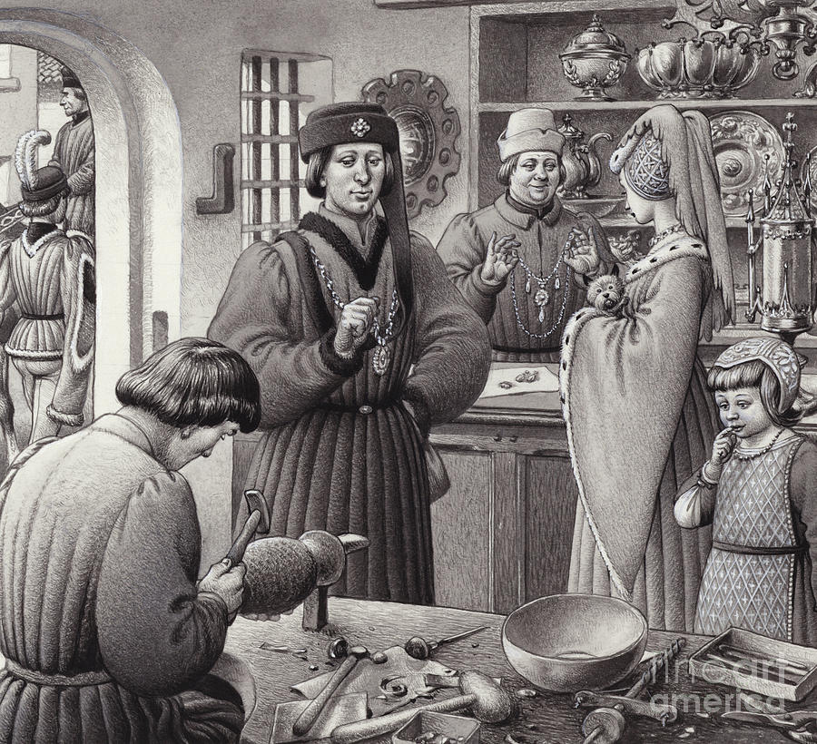 Goldsmith Painting - A Goldsmiths Shop In 15th Century Italy by Pat Nicolle
