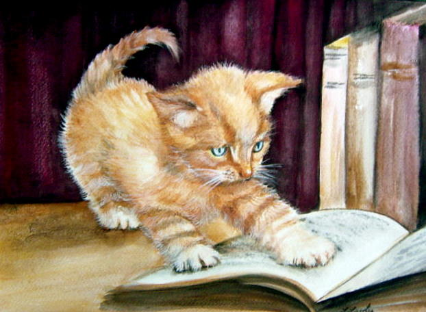 Kitten Painting - A Good Read by L Lauter