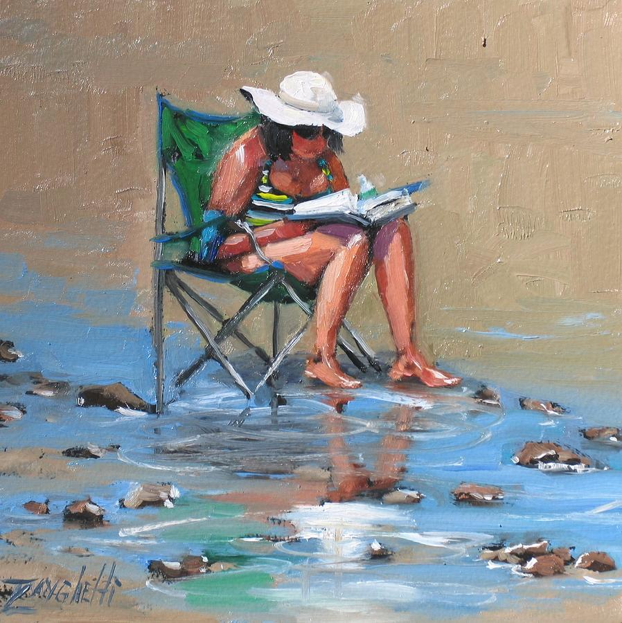 Beach Scene Painting - A Good Read by Laura Lee Zanghetti