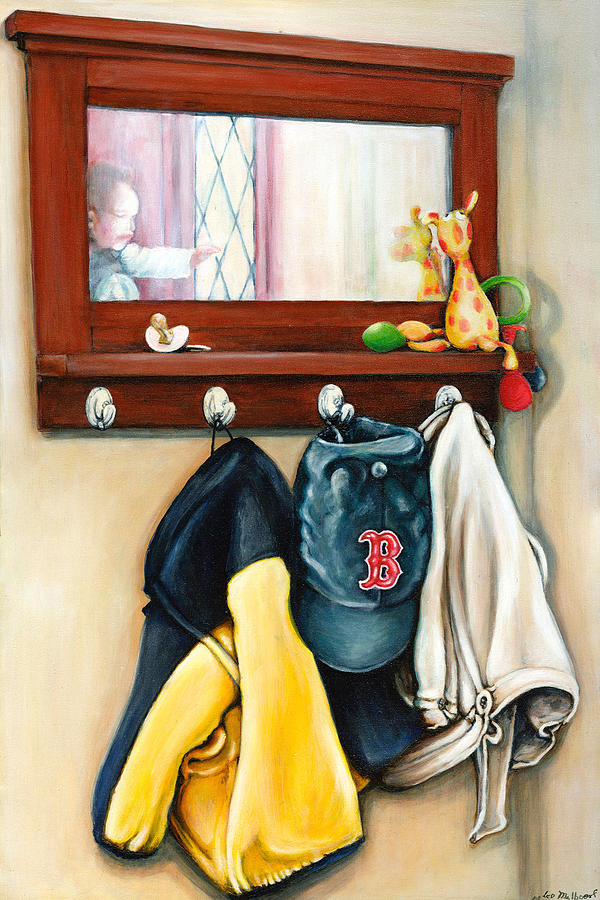 Baby Painting - A Grandsons Prized Possessions Red Soxs by Leo Malboeuf