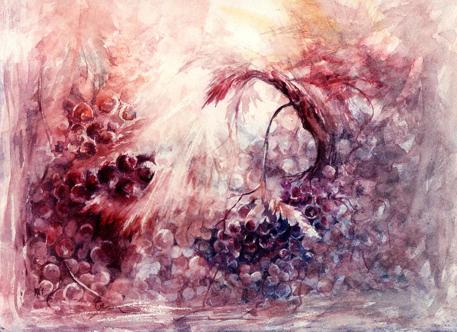 Grapes Painting - A Grape Fairy Tale by Rachel Christine Nowicki