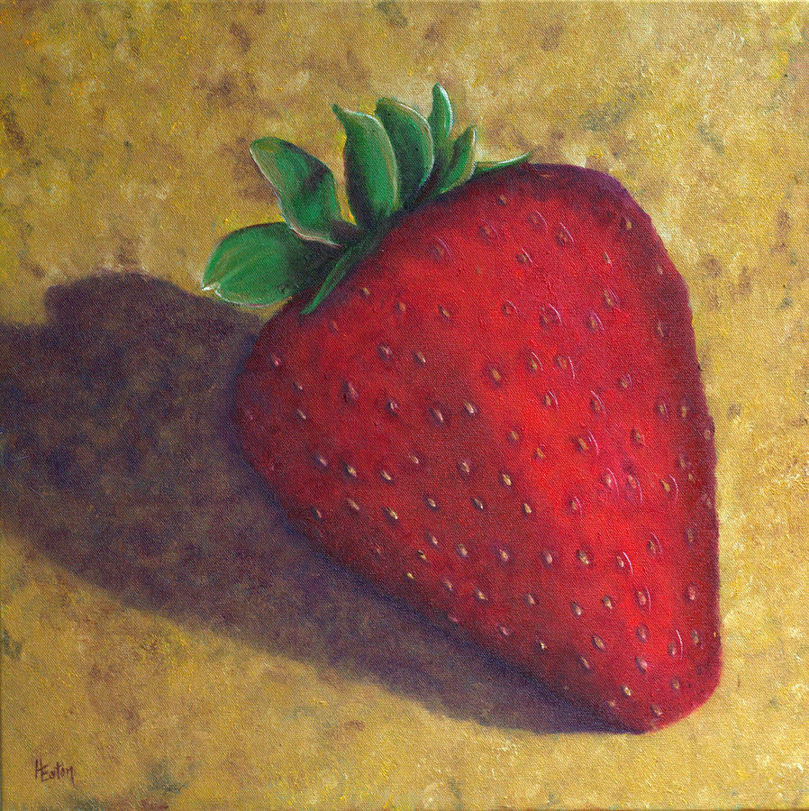 Strawberry Painting - A Great Big Strawberry by Helen Eaton