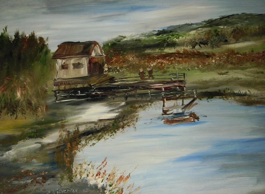 Landscape Painting - A Great Fishing Hole by Edward Wolverton