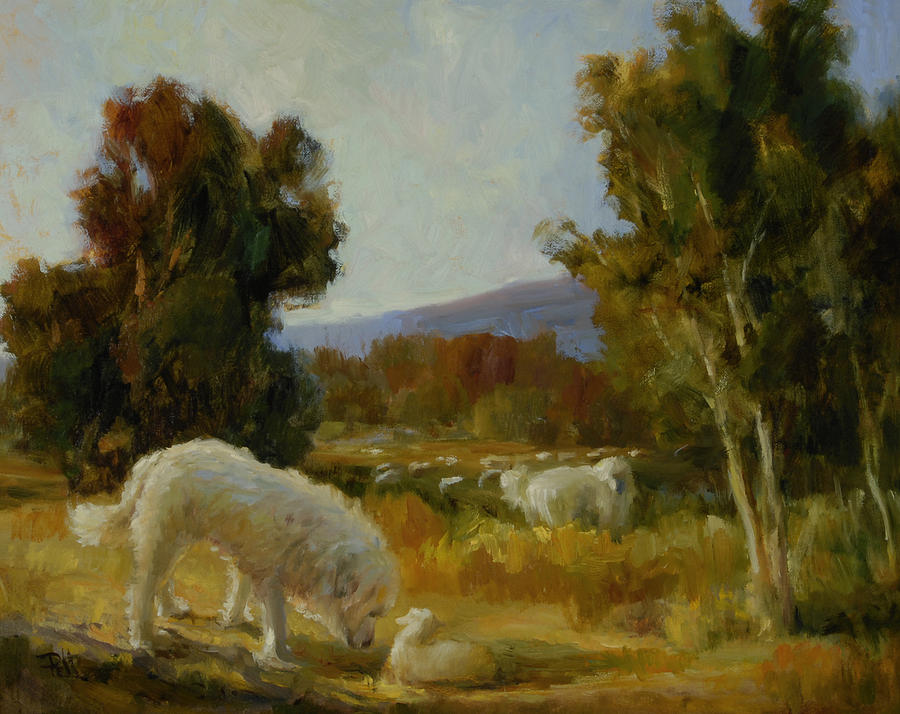 Great Pyrenees Painting - A Great Pyrenees With A Lamb by Lilli Pell