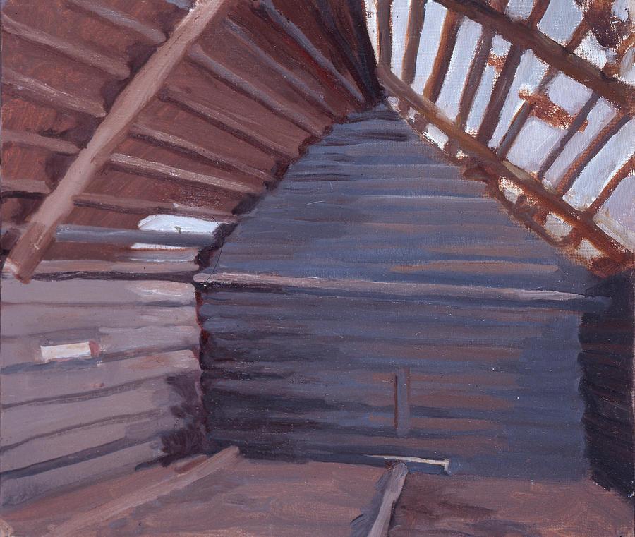 A grey shed by the Sharitsa by Yana Poklad
