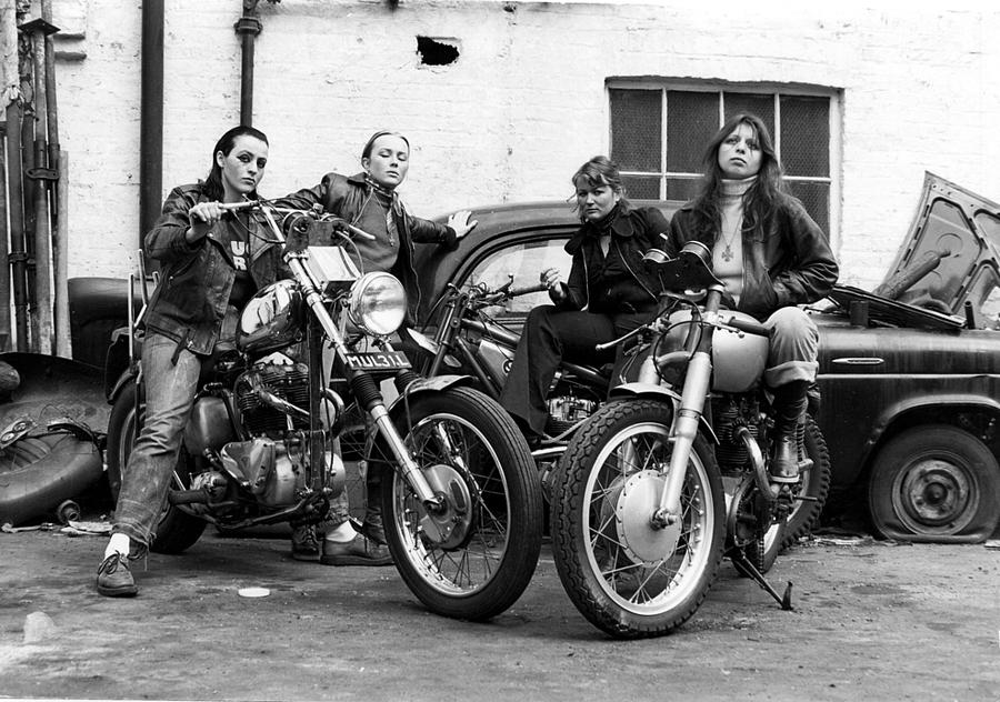 A group of women associated with the Hells Angels, 1973. by LAWRENCE CHRISTOPHER