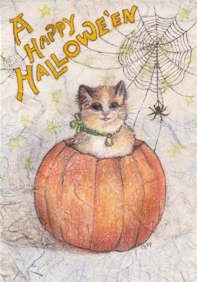 Halloween Drawing - A Happy Halloween by Carrie Jackson Glenn