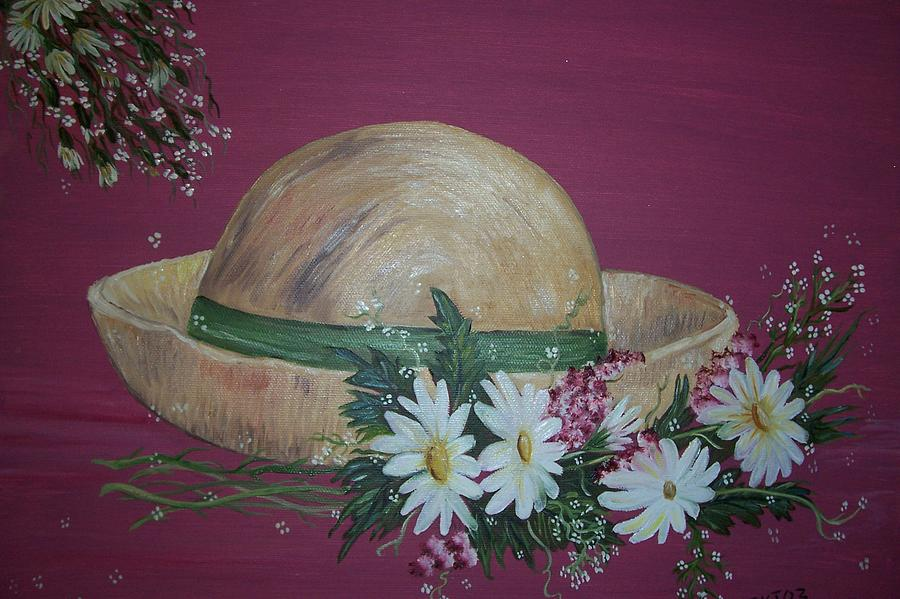 Straw Hat Painting - A Hat Like Day by Elizabeth AAThompson