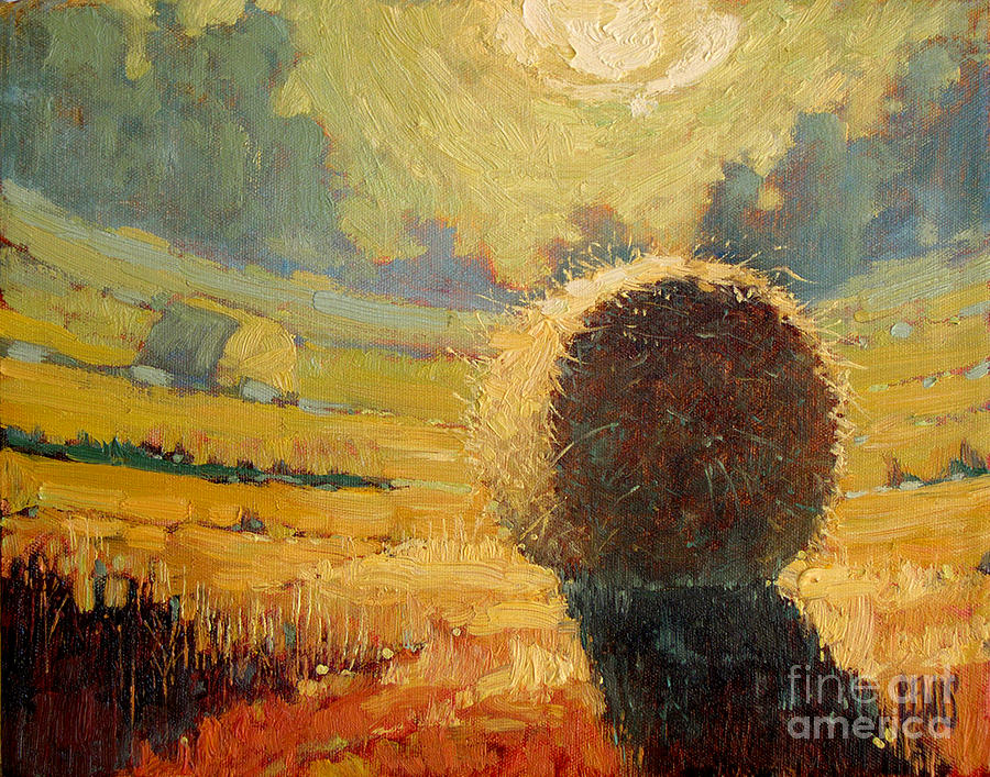 Hay Painting - A Hay Bale In The French Countryside by Robert Lewis