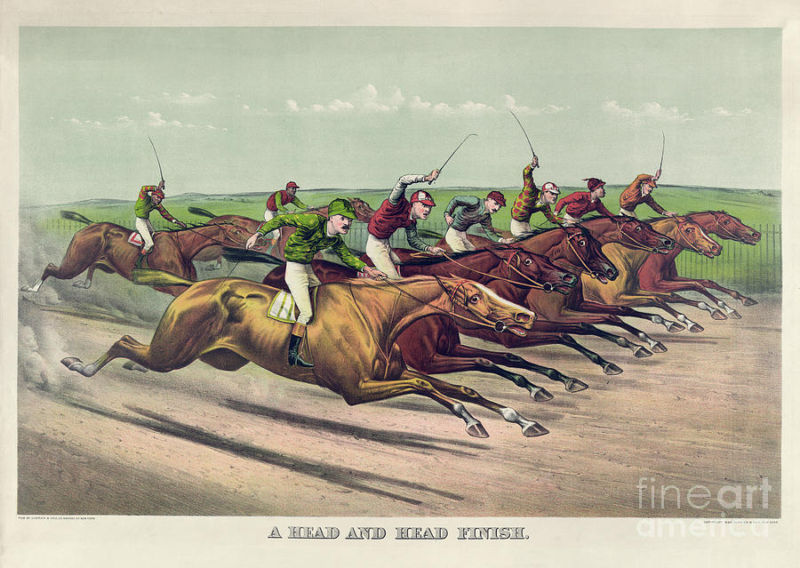 Horse Painting - A Head And Head Finish by Currier and Ives