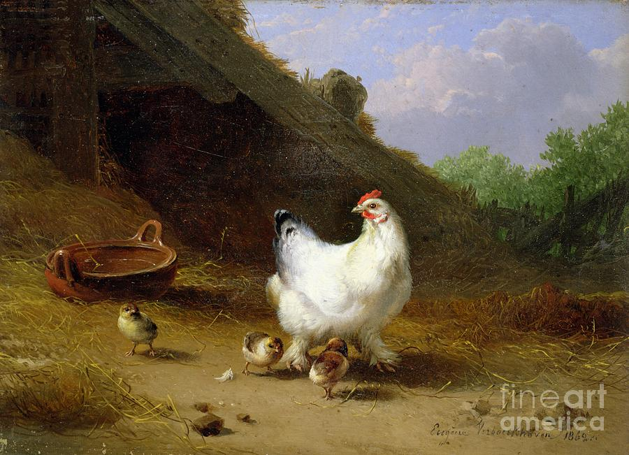 Hen Photograph - A Hen With Her Chicks by Eugene Joseph Verboeckhoven