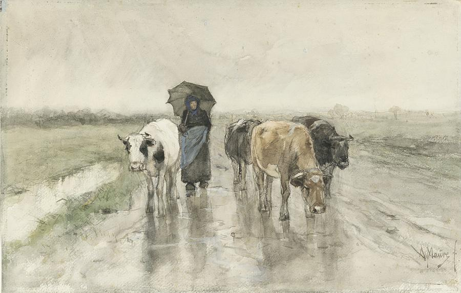 Anton Mauve Painting - A Herdess With Cows On A Country Road In The Rain by Anton Mauve