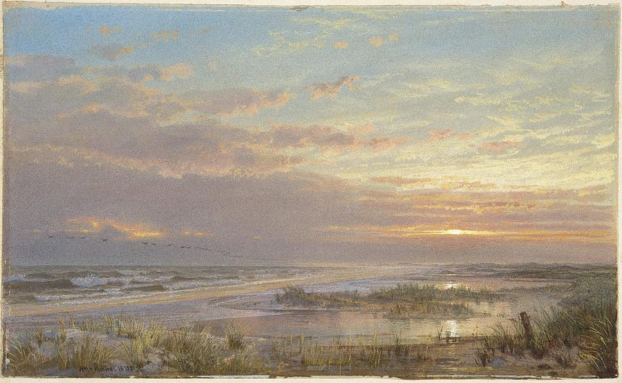 A High Tide At Atlantic City Painting By William Trost Richards