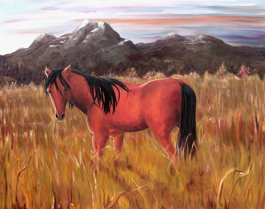 Horses Artwork Painting - A Horse Of Course by Diane Daigle