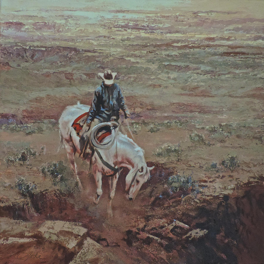 Cowboy Painting - A Horse With No Name by Mia DeLode