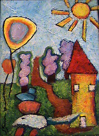 Landscape Painting - A House And A Mouse by Ioulia Sotiriou
