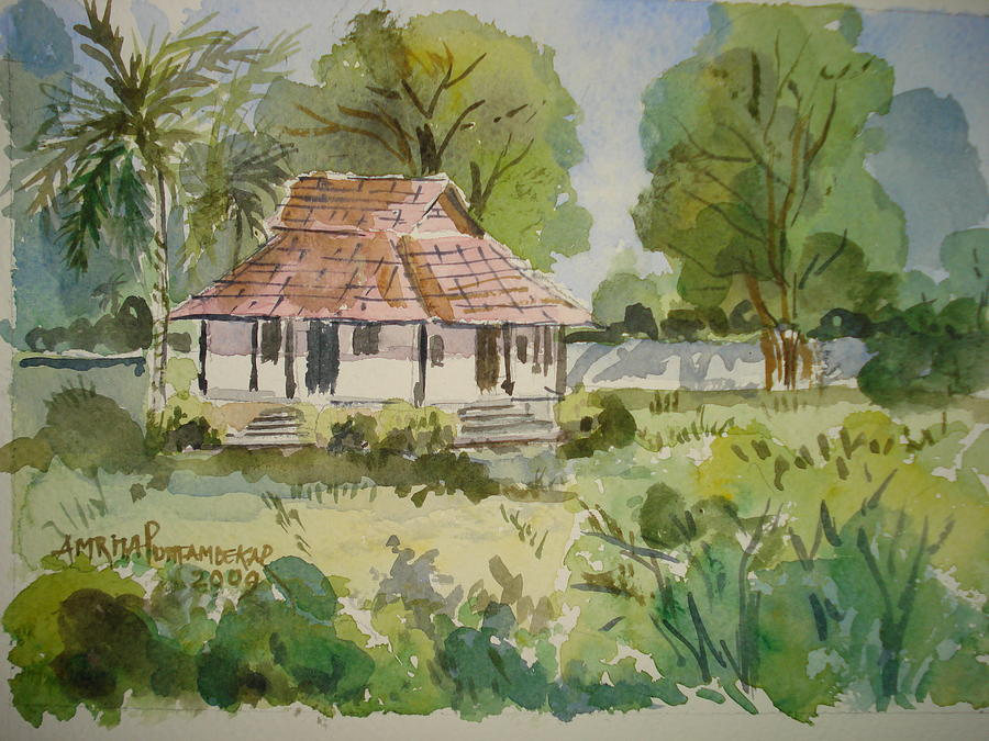 Trees Painting - A House In Palghat by Amrita Puntambekar