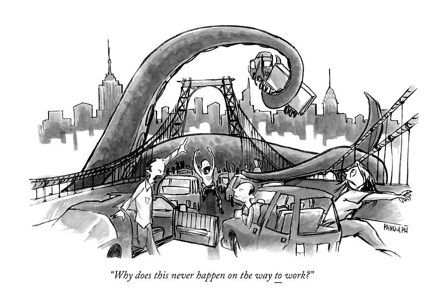 A Huge Octopus Tentacle Wraps Over A Brigde Drawing by Corey Pandolph