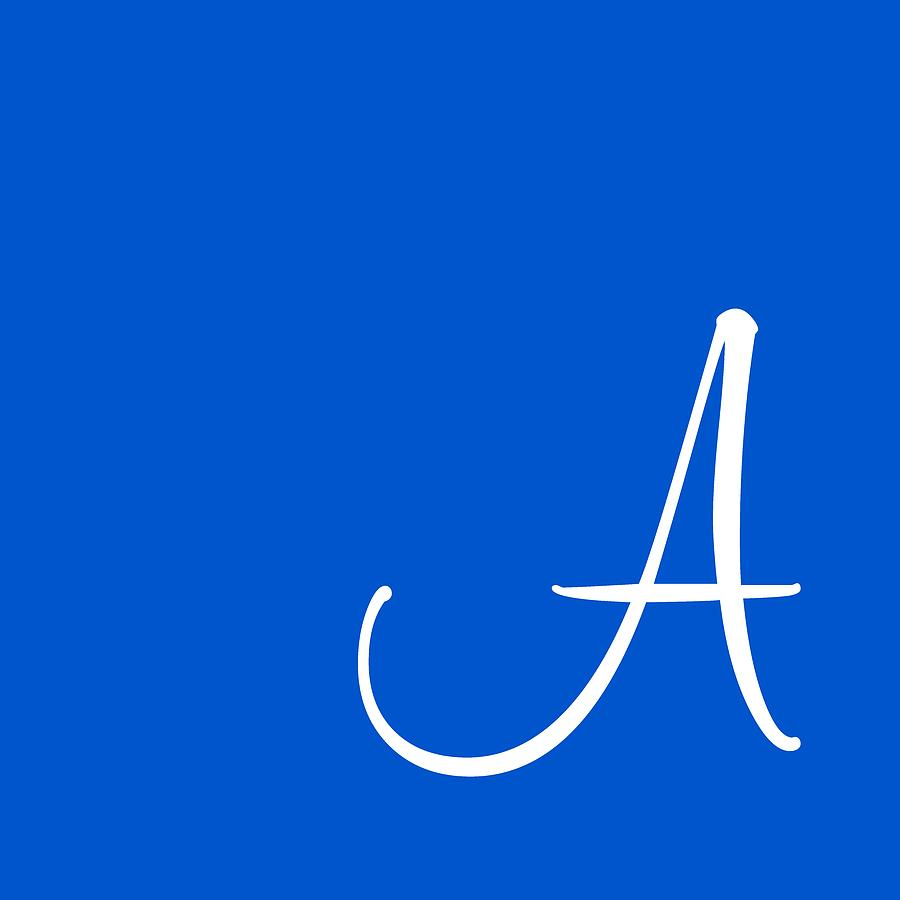 A Digital Art - A In White Simple Script by Custom Home Fashions