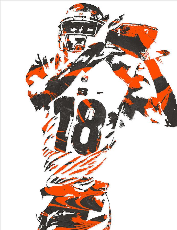 A J Green Cincinnati Bengals Pixel Art 2 Mixed Media by Joe Hamilton