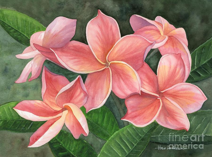 A July Surprise - Plumeria Watercolor by Hao Aiken