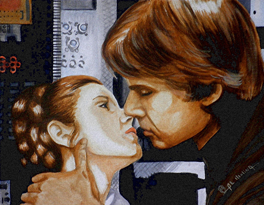 Star Wars Painting - A Kiss From A Scoundrel by Al  Molina