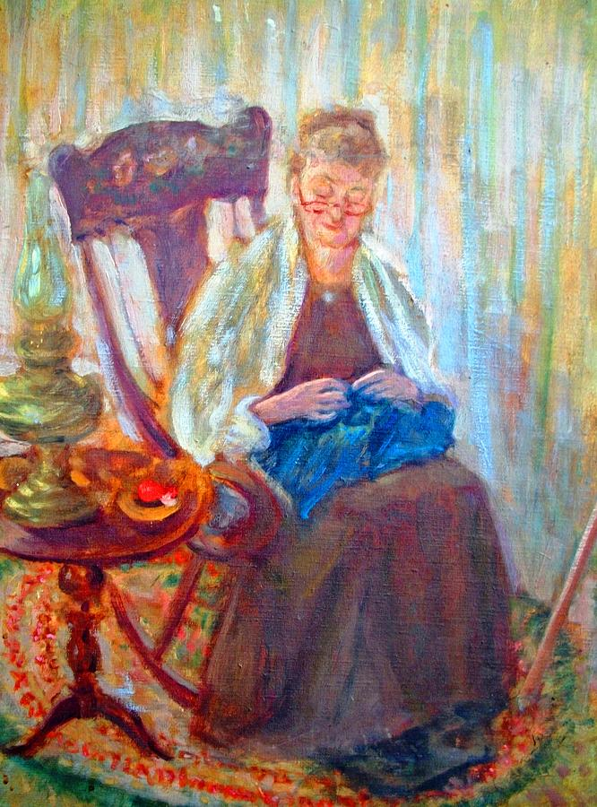 a knitting grandma painting by henry goode