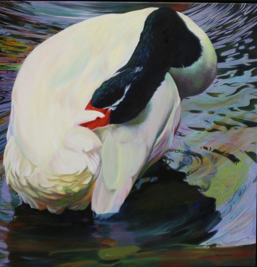 Swan Painting - A Lady Bathing by Kelly McNeil