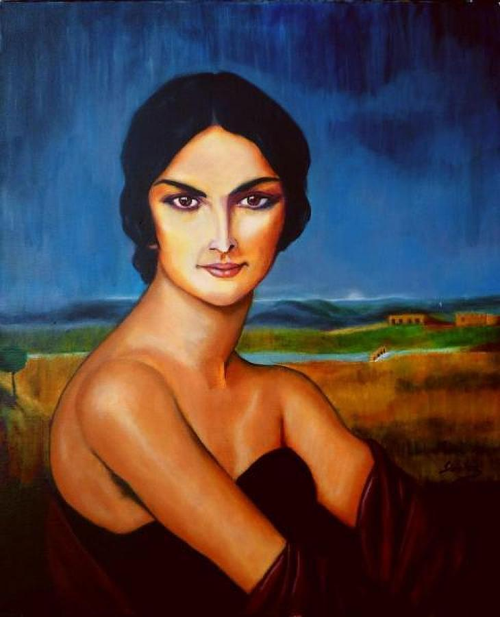 Model Painting Painting - A Lady by Manuel Sanchez
