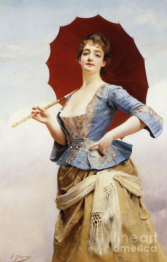A Lady With A Parasol Painting by Gustave Jean Jacquet