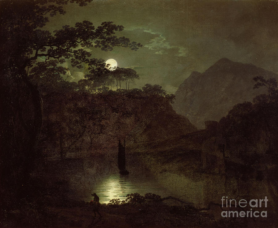 Lake Painting - A Lake by Moonlight by Joseph Wright of Derby