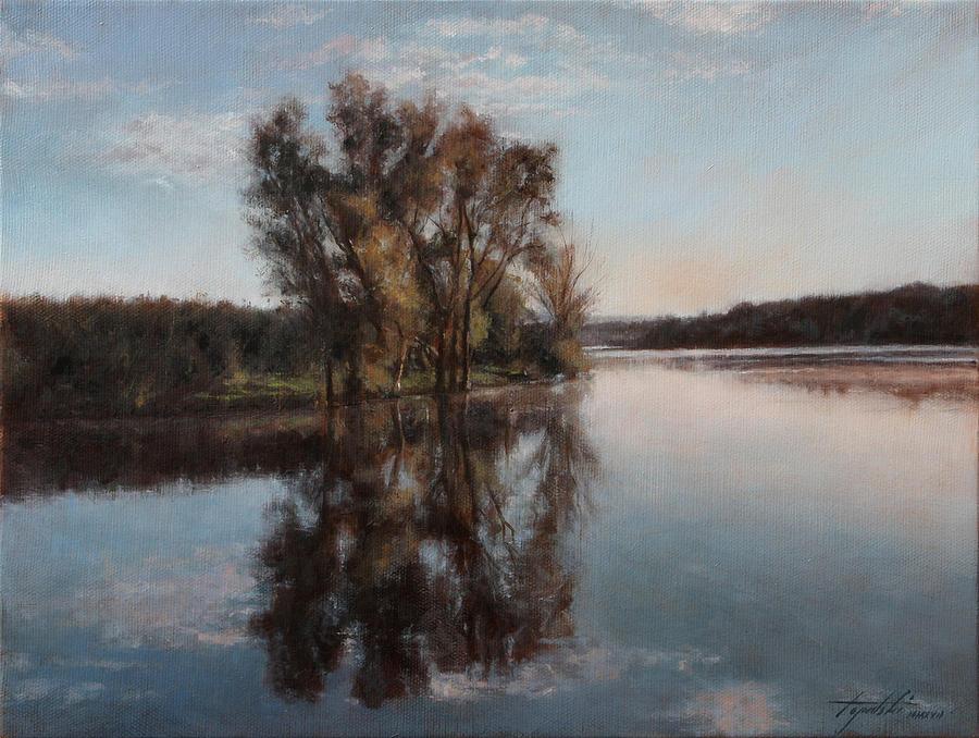 Realism Painting - A Lake by Darko Topalski