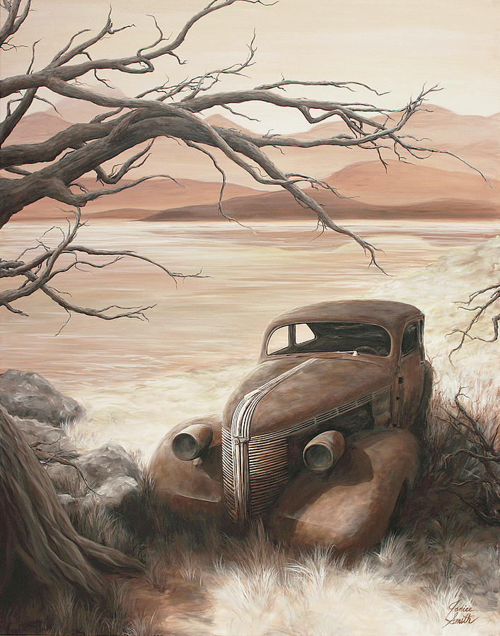 Old Cars Painting - A Lakeshore Drive by Janice Smith