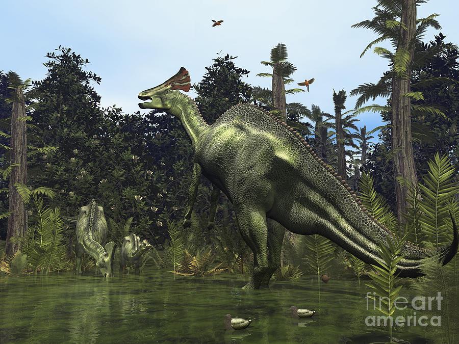 Earth Digital Art - A Lambeosaurus Rears Onto Its Hind Legs by Walter Myers
