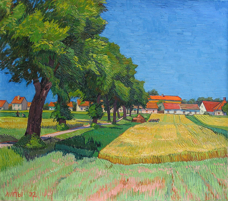 Red Roofs Painting - A lane with blossoming lindens by Vitali Komarov