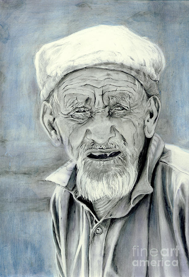 Elderly Painting - A Life Time by Enzie Shahmiri