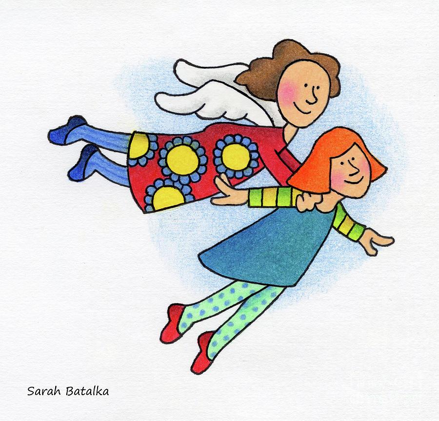 Angels Drawing - A Lift Up by Sarah Batalka
