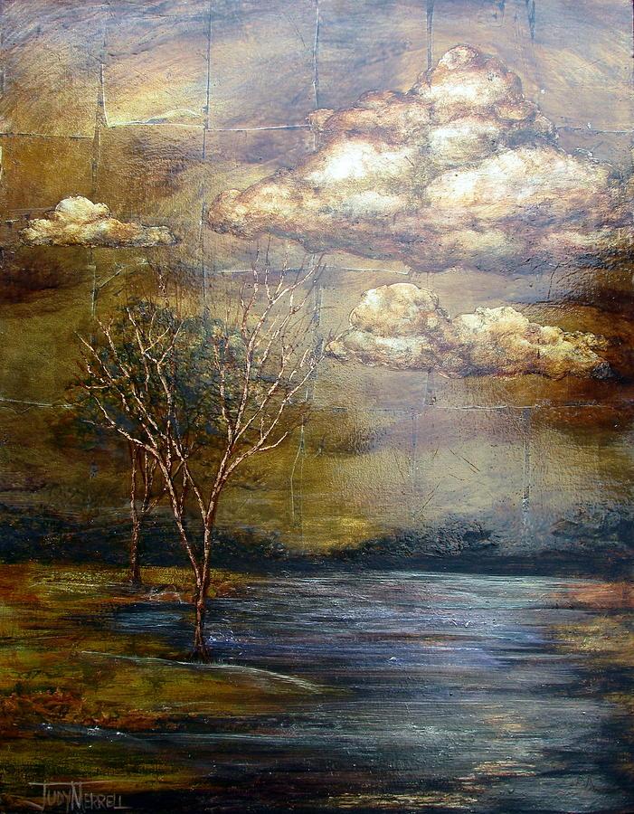 Oil Spill Painting - A Light Sheen by Judy Merrell
