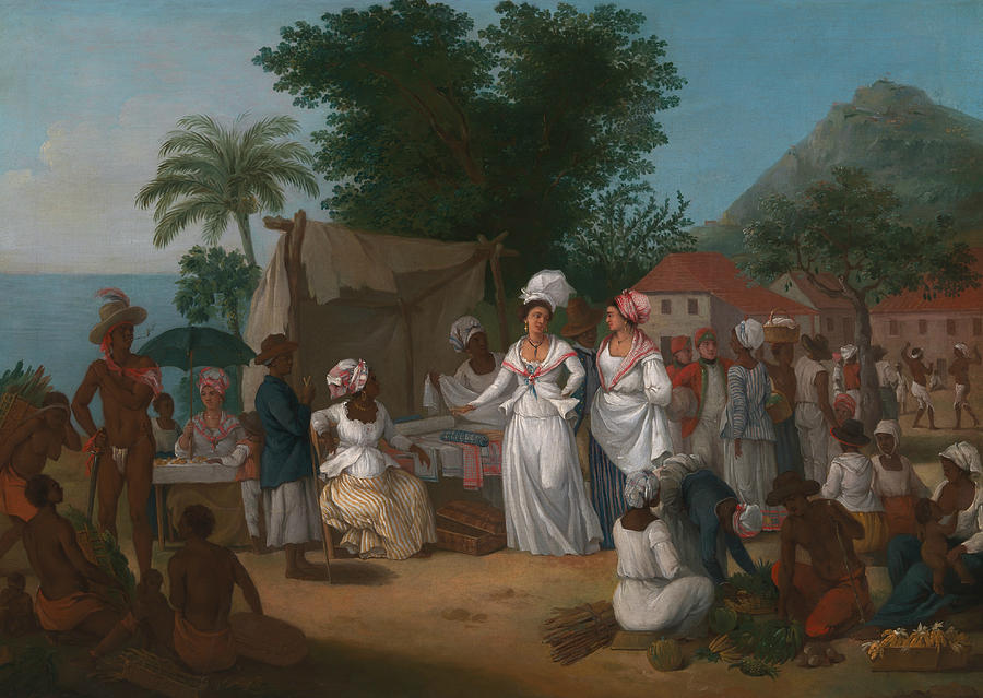 Italian Painters Painting - A Linen Market with a Linen-stall and Vegetable Seller in the West Indies by Agostino Brunias