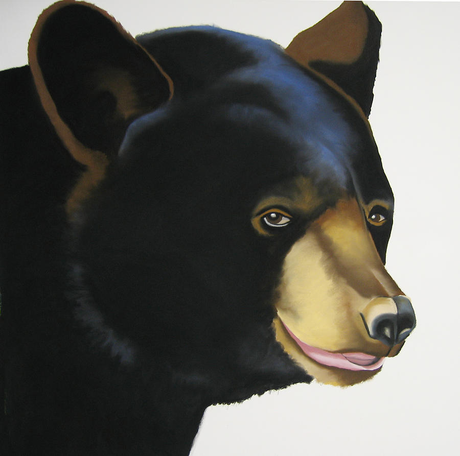 Black Bear Painting - A Little Blue by Brenda Wolf